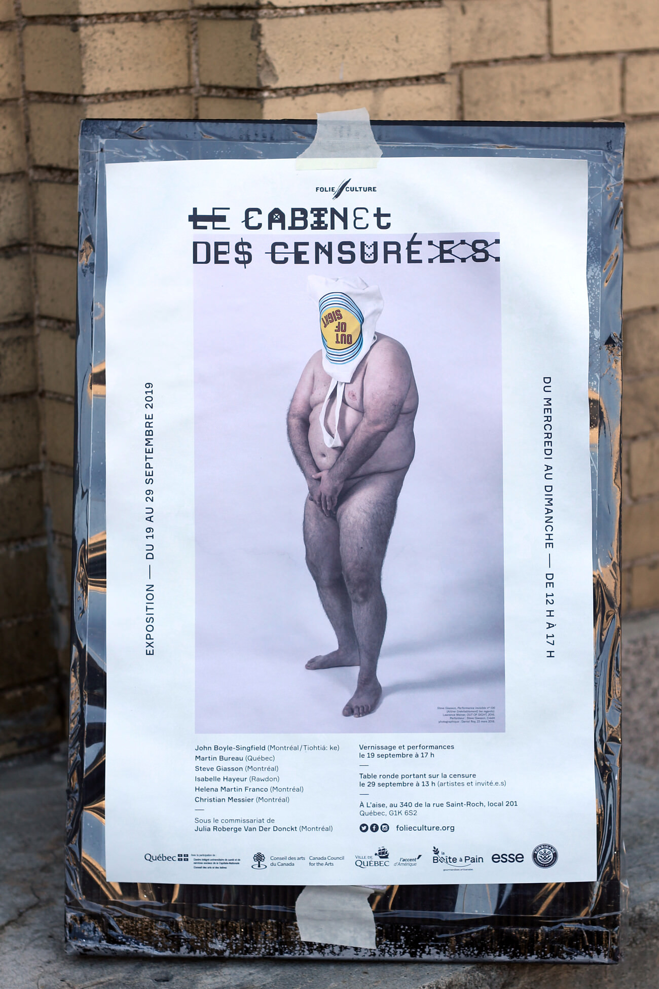 Steve Giasson. Performance invisible n° 136 (Attirer (inévitablement) les regards). Crédit photographique : Yannick L. Côté. 1er octobre 2019.