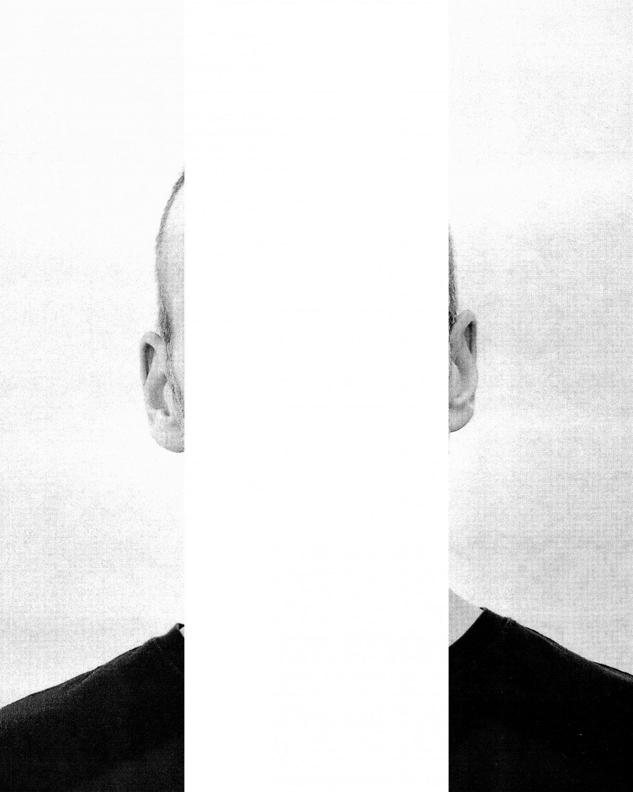 Steve Giasson. Performance invisible n° 224 (Manquer d'oreille). D'après Michelangelo Pistoletto. Le orecchie di Jasper Johns [The Ears of Jasper Johns]. 1966. D'après Steve Giasson. Performance invisible n° 223 (Manquer de vision). 25 février 2021. Performeur : Steve Giasson. Crédit photographique : Martin Vinette. Retouches photographiques : Steve Giasson. 2 mars 2021.