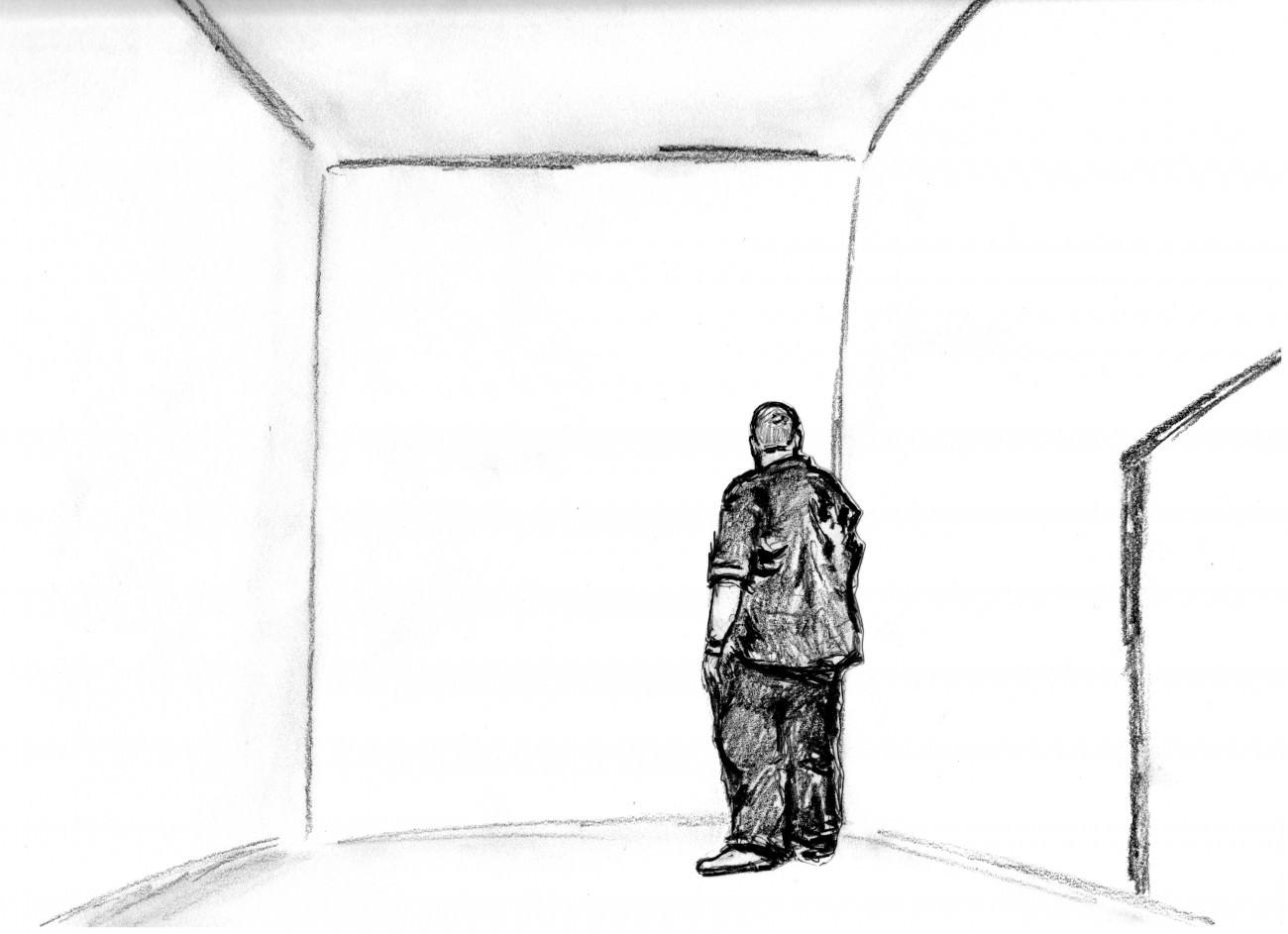 Steve Giasson. Performance invisible n° 20 (Imaginer une pièce vide). Performeurs : Daniel Roy et Steve Giasson. Dessin : Daniel Roy et Steve Giasson. 7 septembre 2015.