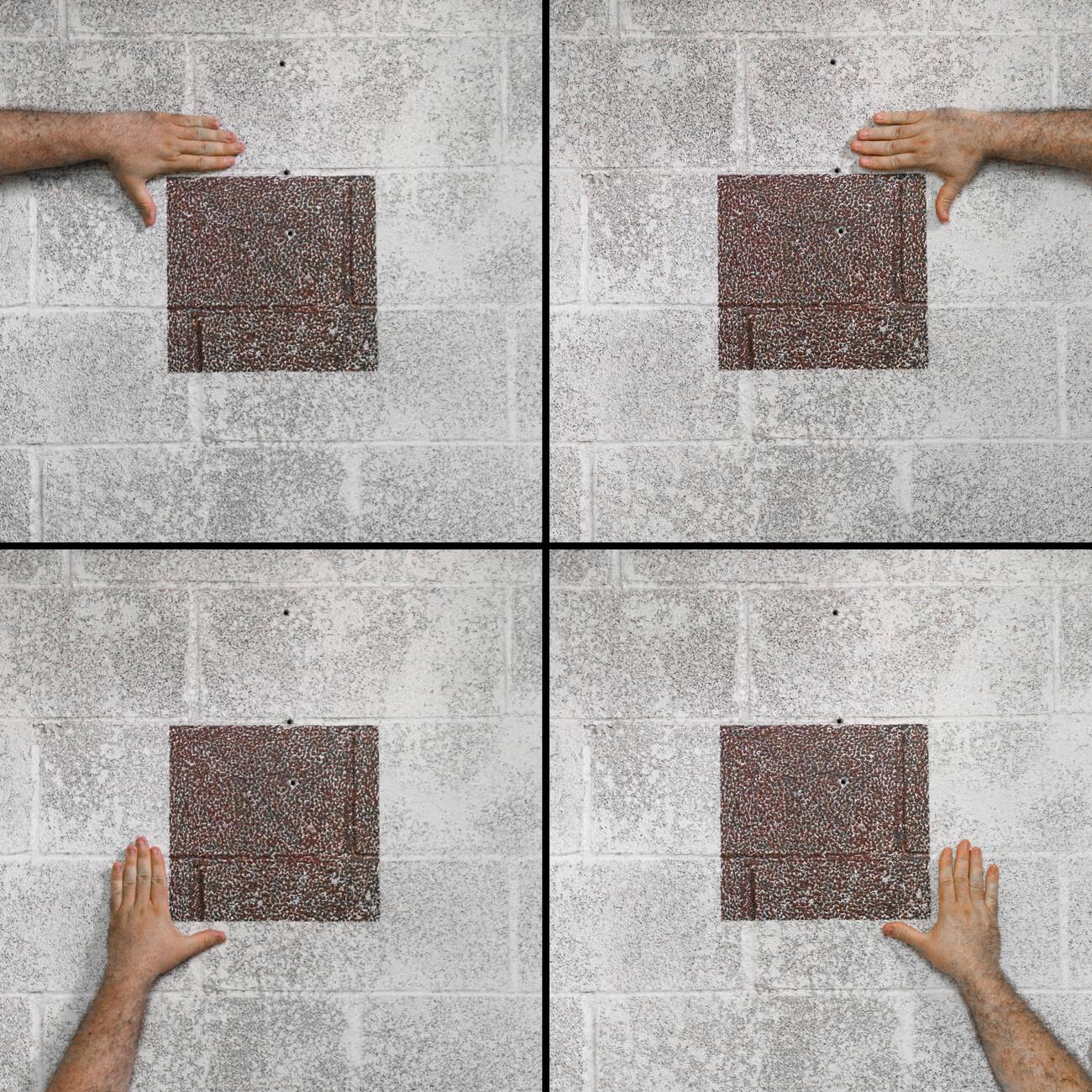 Steve Giasson. Performance invisible n° 161 (Caresser une œuvre d'art). Sol LeWitt. Crayola Square. 1999. Performeur : Steve Giasson. Crédit photographique : Martin Vinette. MoMA PS1, New York. 10 juillet 2017.