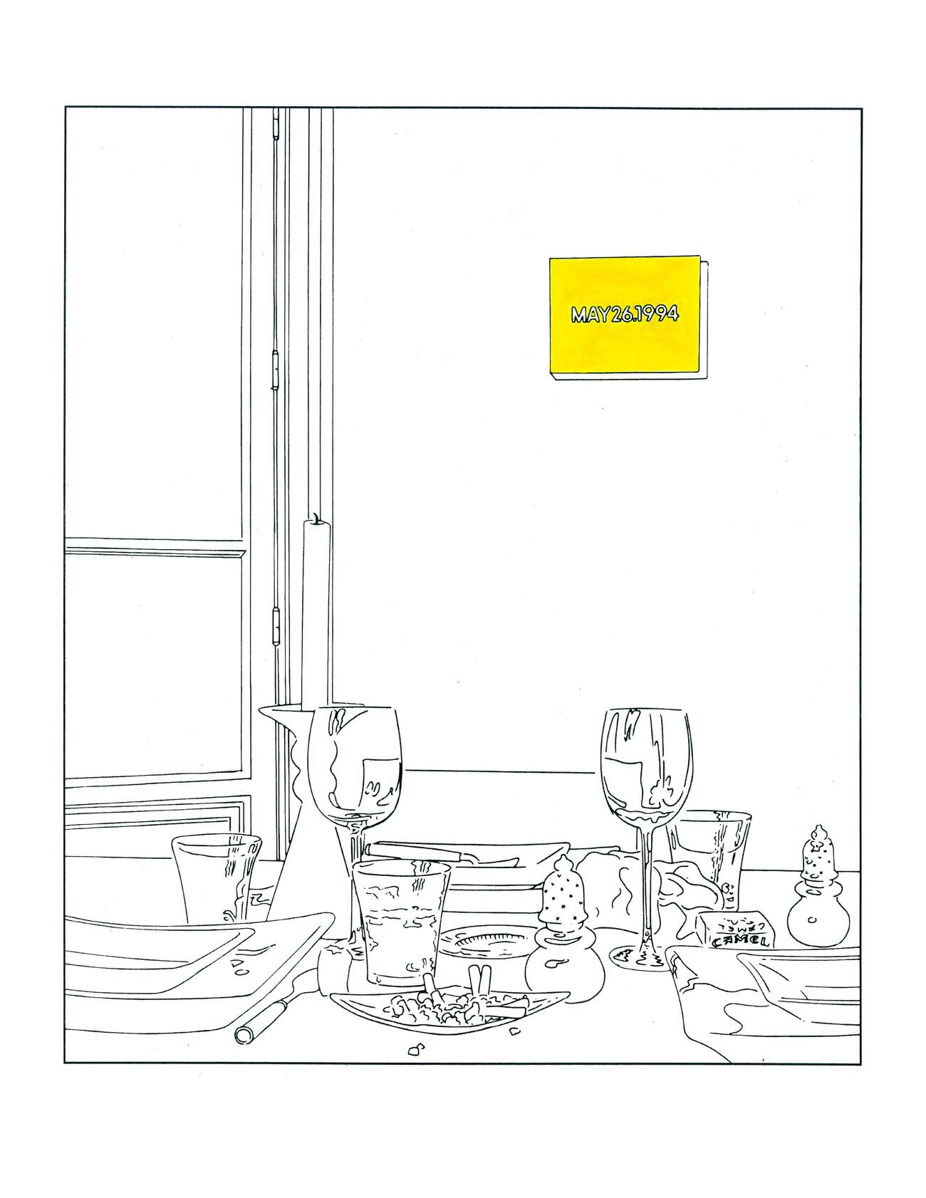 Steve Giasson. Performance invisible n° 178 (Être non essentiel). D'après Louise Lawler. Still Life (Candle) (traced). 2003/2013. In Louise Lawler. Louise Lawler's Tracings for You. Magazine, Museum of Modern Art, New York, 25 mars 2020. Gouache et impression numérique sur papier cartonné. 21,5 cm x 27,94 cm. Performeur : Steve Giasson. Crédit photographique : Steve Giasson. 25 septembre 2020.
