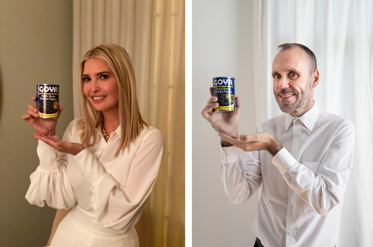Steve Giasson. Performance invisible n°186 (Savoir se vendre). Reenactment de Ivanka Trump. If it's Goya, it has to be good. / Si es Goya, tiene que ser bueno. Twitter. 14 juillet 2020. Performeur : Steve Giasson. Crédit photographique : Martin Vinette. Retouches photographiques : Daniel Roy. 19 septembre 2020.