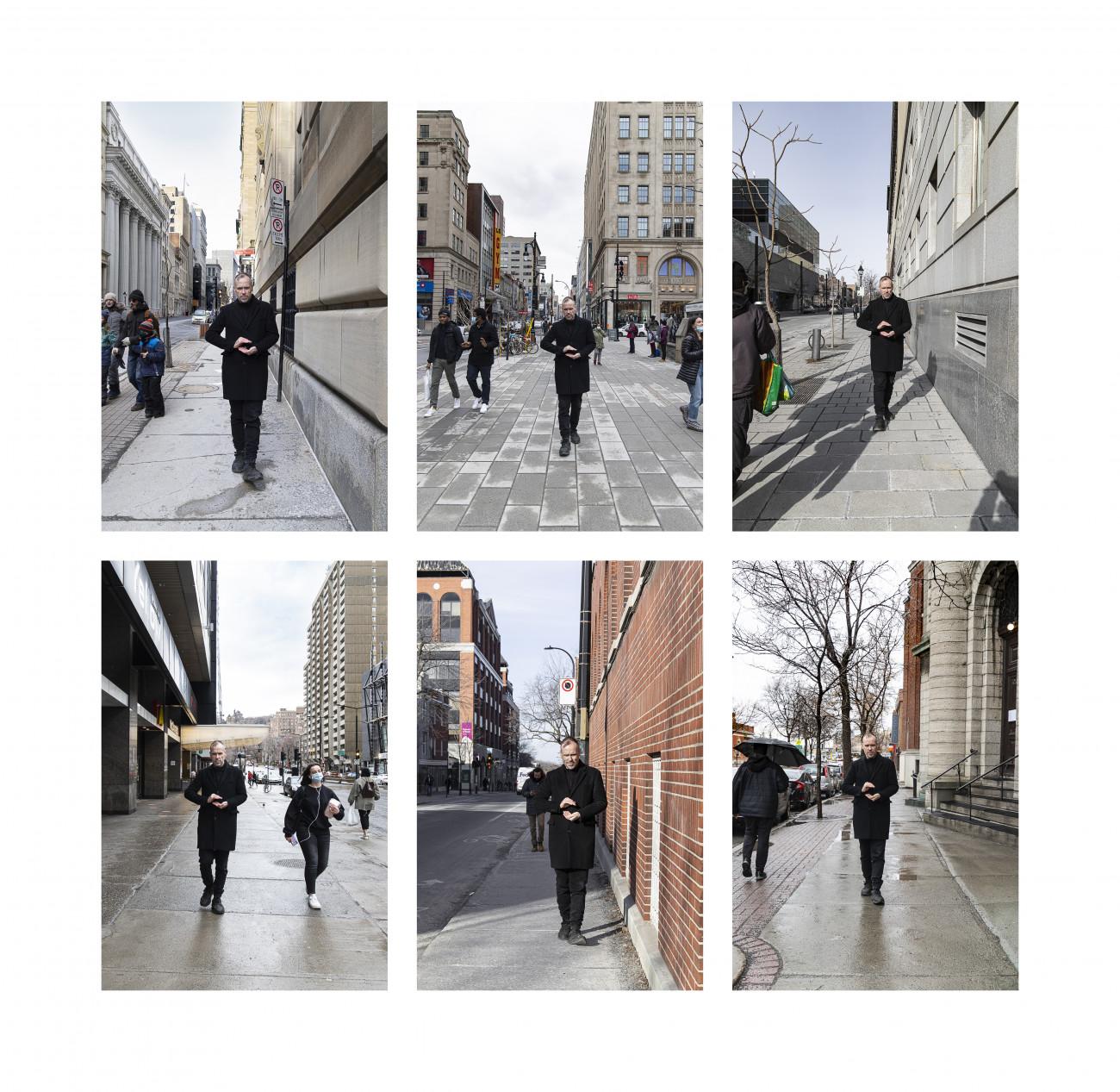 Steve Giasson. Performance invisible n° 234 (Donner ce que l'on a). Reenactment de Decebal Scriba. The Gift. 1974. Performeur : Steve Giasson. Crédit photographique : Martin Vinette. Retouches photographiques : Daniel Roy. 13-16-27-28 mars 2021.
