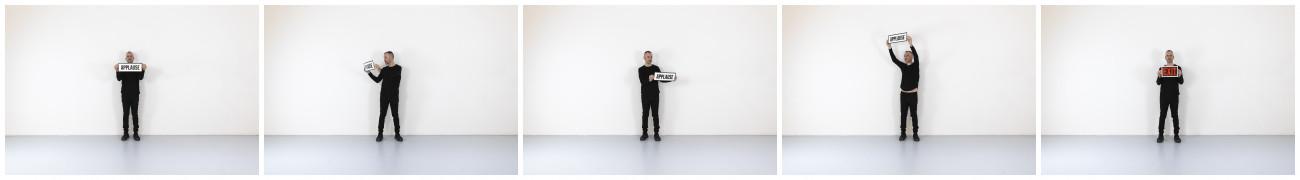 Steve Giasson. Performance invisible n° 251 (Applaudir rien). D'après Alison Knowles. Applause for Ben Patterson. 2014. Performeur : Steve Giasson. Crédit photographique : Martin Vinette. Retouches photographiques : Daniel Roy. 15 avril 2021.